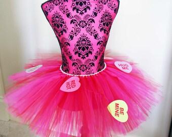 Valentine's Day Tutu, Running Tutu, Conversation Heart Tutu, Pink and Red Tutu, Race Tutu, Sweet Heart Tutu, Cupid Tutu