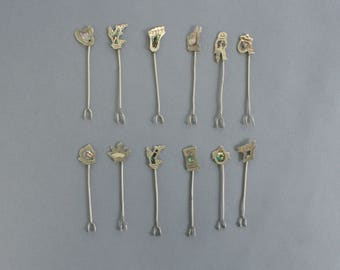 Abalone and Metal Cocktail Picks Set of 12