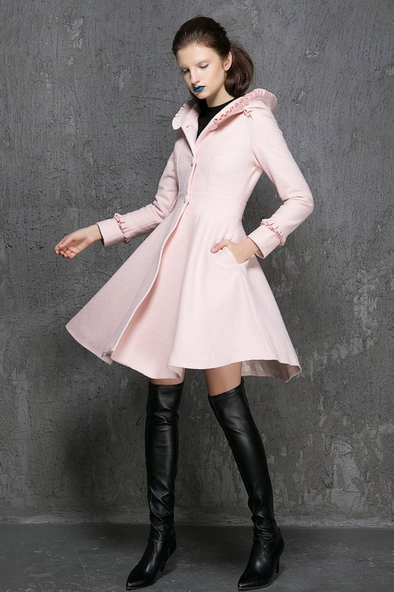 Ladies Jacket Wool 1352 Clothing Winter Coat Pink Womens Winter Coat