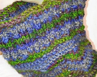 Boho Style-purple, gray, green, blue, marroon, hand spun and hand knit wool neck warmer-infinity scarf-handwoven scarf-handmade cowl