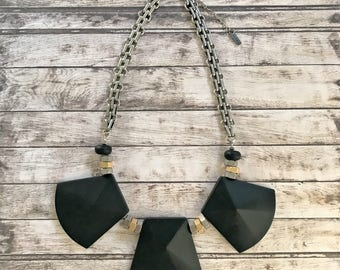 Black geometric necklace, art deco big beads, silver gold black, Nulika