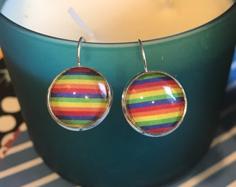 RainBow Pride cabochon earrings- 16mm
