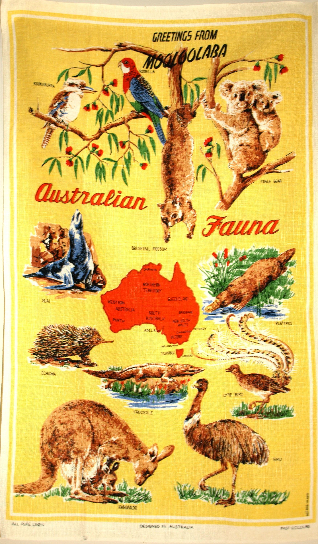 Australian Fauna Wildlife Tea Towel 60s Polish Linen