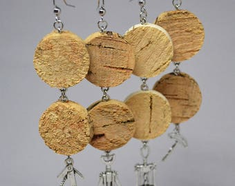 Upcycled Wine Cork Earrings with Wine Bottle Charm