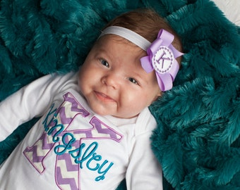 Newborn Baby Girl Take Home Outfit Monogram Newborn Girl Layette Coming Home Outfit Personalized Baby Gown and Headband New Baby Gift