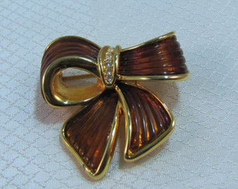 Joan Rivers Brown Enameled Gold Plated Bow Brooch