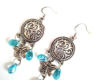 Handmade earrings with drops and Butterfly