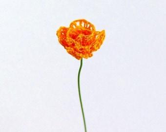 Orange Miniature Bobbin Lace Rose