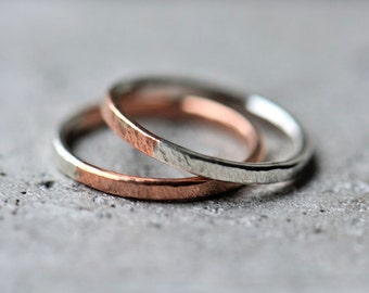 Mixed metal ring, copper and sterling silver rings, textured ring, made to order ring, stacking ring