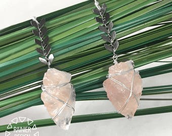 Rose Quartz Arrowhead Wire-Wrapped Earrings ↠ Chevron/Fishbone Geometric Boho Dangle/Drop, Natural Rough Semiprecious Stone, Silver and Gold