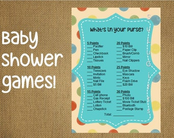Baby Shower Game  ~ What's in your Purse Game  Instant Download Printable PDF File ~ Happy Dots Design