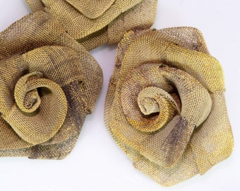 """4 pcs Steampunk Roses 1"""" (25 mm) Altered Art Craft Supply Oxidized Brass Wire Mesh Rose Wire Flower for Jewelry Art R1079-25"""