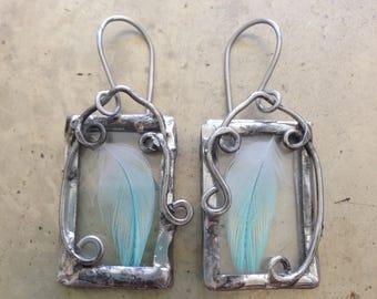 Art Nouveau Fairy Feather Earrings Blue Bird Jewelry