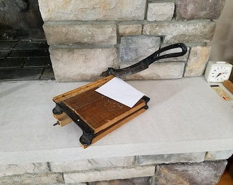Early Antique Paper Cutter - Heavy Cast Iron and Wood