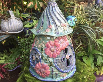 Large Ceramic Floral Fairy House - Outdoor Fairy Garden Home - Gourd Faery House - Handcrafted Fairy House - Gnome Home - Toad Abode