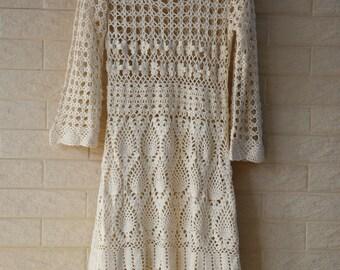 White Crochet Dress Long Sleeve Boho Summer Dress