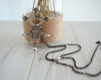African Ethiopian Tuareg Coptic Cross Necklace, African Jewelry, Ethnic Tribal Necklace, Large Pendant Amulet Contemporary Tie Necklace