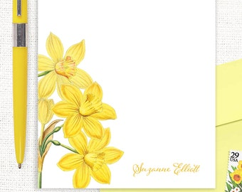 personalized notePAD - YELLOW DAFFODILS  - narcissus - floral stationery - feminine stationary - flower notepad - botanical