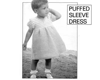"""PDF of vintage children's/toddler's crochet pattern, """"Puffed Sleeve Dress"""", with striped bodice, size 12 months, from the 1960's."""