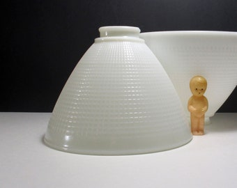 """2 Vintage White Milk Glass Shade Torchiere Light Covers Waffle Pattern Diffuser Mid Century Art Deco Replacement Globe 2.25"""" Fitter Opening"""