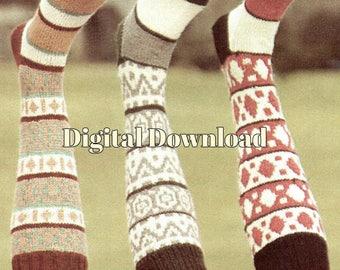 Fair Isle Knit Knee Socks Pattern, 3 Styles, Sock Knitting, Vintage Knitting Pattern, PDF Instant, Digital Download