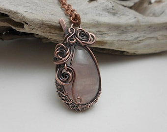 Rose Quartz Pendant, Wire Wrapped Rose Quartz Pendant, Pink Quartz Copper Woven Necklace