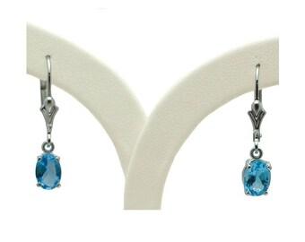 Sterling Silver Blue Topaz Lever Back Earrings