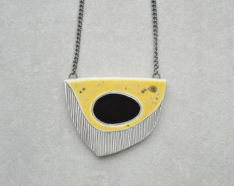 Ceramic necklace, statement jewelry, geometric necklace, hand-painted contemporary jewelry for women, gift for her