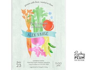 Farmer's Market Baby Shower Invitation / Locally Grown Baby Shower Invitation / Couples Baby Shower Invitation / Coed Baby Shower Invitation