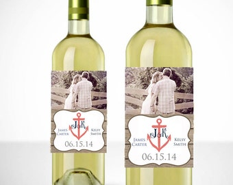 Vintage Anchor Wine Labels with Picture - Printable - Nautical Wedding - Personalized Wedding Wine Labels - Wedding Favors - Wedding Labels
