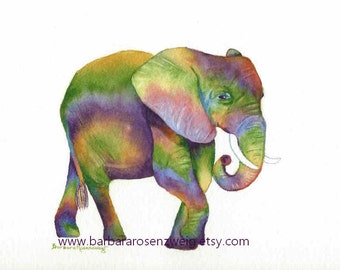 Elephant Art Print, Baby Elephant Painting, Watercolor Elephant, Nursery Wall Art, Safari Animal, Zoo Animal Wall Art, Kids Room Decor Gift