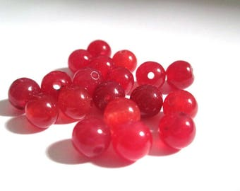 10 pearls 6mm red natural jade (6)