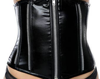 Waist Cincher with Zipper Detail and Lace-Up Back