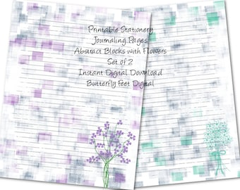 Junk Journal Pages, Printable Stationery, Lined Writing Paper, Abstract Art with Flowers, Instant Download