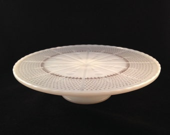 Vintage Anchor Hocking Milk Glass Cake Stand with Gold Accents