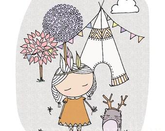 A4 Camping Print. Kids art print. Nursery decor. Woodland creatures, bear print, Little girl Print, Girls room, girls nursery decor, cat