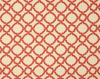 One Custom  Tailored Queen/King  Size Bedskirt  -   Circles Trellis - Orange/Cream