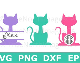 Cat SVG / Cat Monogram SVG / Split Monogram SVG / Cat Monogram Clipart / Cat Monogram Vector / svg Files for Cricut / Silhouette Files
