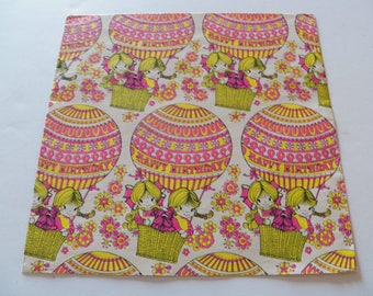 Vintage Gift Wrapping Paper, Vintage Hot Air Balloon Gift Wrap, One sheet 20X30 inches, All Occasion Birthday Gift Wrap