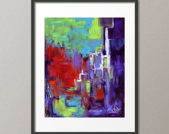 Original Abstract Painting Night Street Huge Acrylic