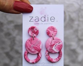 Pink silver geometric earrings, dangle earrings, drop earrings, pink dangles, unique earrings, made by the zadie store, marble effect