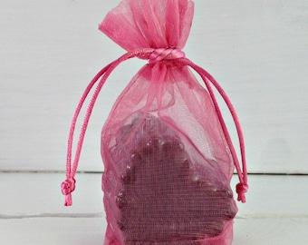 SALE Rose Gusset Organza Favor Bag, Soap Favor Bag, Organza Favor Bag, Pink Drawstring Bag, 3x5 Organza Bag, Wedding Favor Bag, Bridal Bag