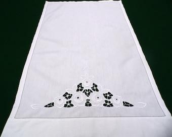 "Vintage panel Richelieu embroidery Monogram ""JK"" flowers whitework and openwork little curtain valance"