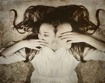 We're Drifting Apart FREE SHIPPING Surreal photo print Creepy portrait Dark art image Conjoined twins Two headed girl Brown Cream Wall Decor