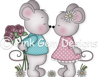 Digi Stamp Love Mice  - Mouse, Mice, Makes Cute Valentine Cards, Engagement, Wedding Anniversary