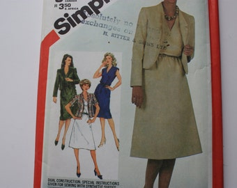 UNCUT Simplicity 5435 Misses Dress and Jacket - 1980's Fashion