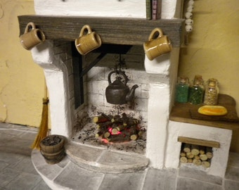 DollHouse Miniature Fireplace -  Medieval Cottage Tudor Fireplace 1:12th Kitchen Cooking