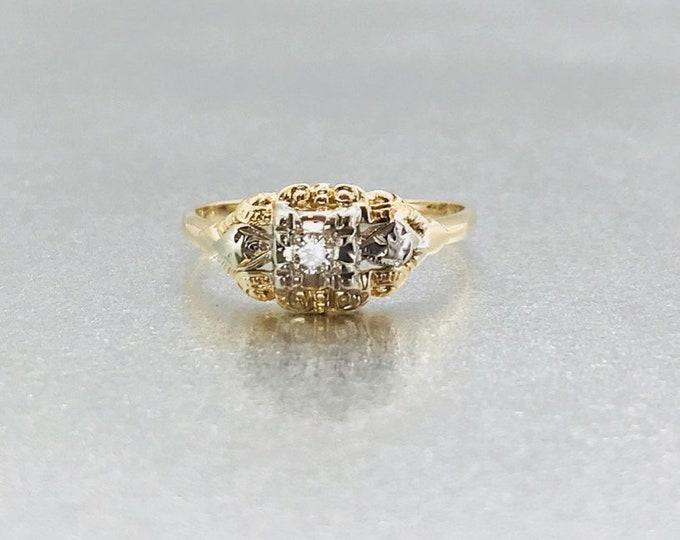 Yellow Gold Diamond Engagement Ring, Vintage Engagement Ring, Diamond Promise Ring, Vintage Diamond Promise Ring, Vintage Diamond Ring