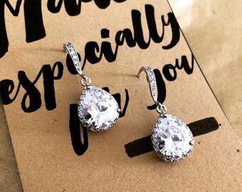 Crystal Earrings, Cubic Zirconia Earrings, CZ Teardrop, Crystal Drop Earrings, Bridal Jewelry, Crystal Wedding Earrings, Bridesmaid Earring