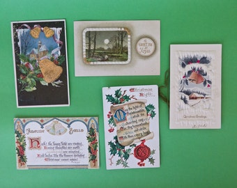 Turn of the Century Embossed Antique Christmas Greeting / Postcard Lot of 5